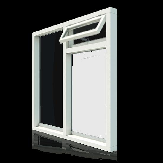 3 vaks Vast raamkozijn met klepraam rechtsboven
